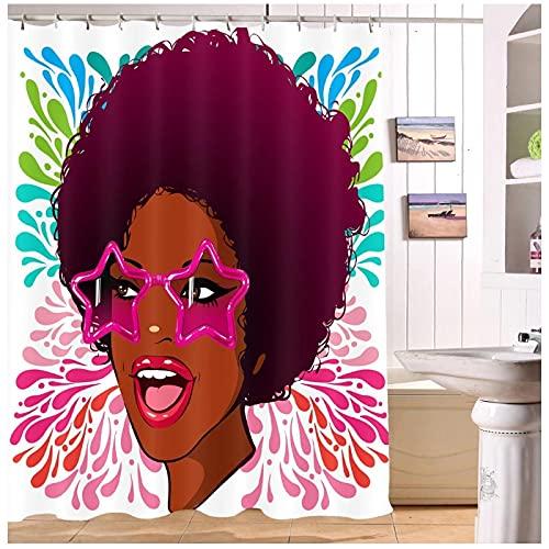 MZYZSL Cortina de Ducha Impermeable Estrella Gafas de Sol American African Afro Girl Mujer Cortina de Ducha Tejido de poliéster Cortina de baño -180x180cm