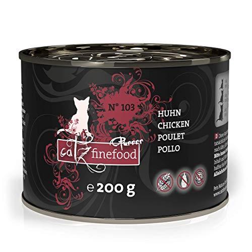 catz finefood Purrrr Huhn Monoprotein Katzenfutter nass N° 103, für ernährungssensible Katzen, 70% Fleischanteil, 6 x 200g Dose