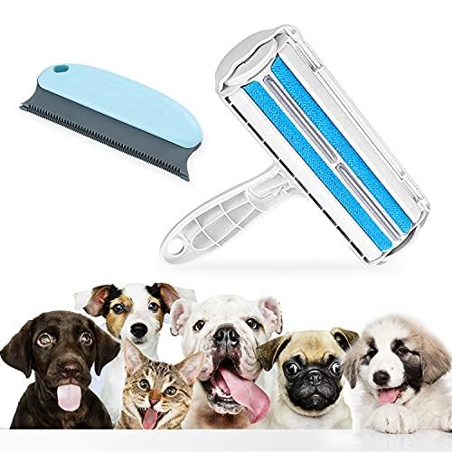 Cepillo antipelos animales + cepillo anti pelusa – Cepillo recogedor de pelo para gato y perro – rodillo para pelo de animales   mágico reutilizable – para ropa, sofá, coche, alfombra, cama