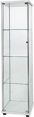 ガラスディスプレイキャビネット 収納キャビネット コレクションケース 4段セット 強化ガラスショーケースキャビネット ドア付き163cm ホワイト