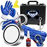 1000lbs Fishing Magnet Kit, Double Sided Magnet Fishing Strong Neodymium Magnet -Includes Grappling Hook, 65FT Rope, Gloves & Locking Carabiner, Threadlocker, and Waterproof Case - 2.95inch Diameter