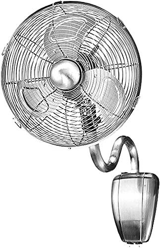 YZPDD Montaje de Pared Ventilador de la Pared Retro Ventilador de Pared Retro Hecho de Metal 35W Hogar Montado Montado Montado Funcionamiento de cordón 3 velocidades/Bajo Ruido (Color : Silver)
