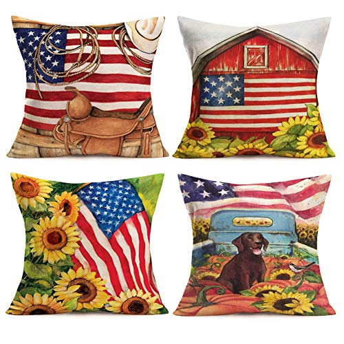 Smilyard Independence Day Throw Pillow Covers American Flag with Sunflower Cotton Linen USA Decorative Pillow Cover Set of 4 Cotton Linen Animal Dog Pillow Case for Sofa Bed 18x18 Inch(Retro USA Set)