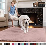Gorilla Grip Original Faux-Chinchilla Area Rug, 4x6 Feet, Super Soft and Cozy High Pile Washable Carpet, Modern Rugs for Floor, Luxury Shag Carpets for Home, Nursery, Bed and Living Room, Dusty Rose