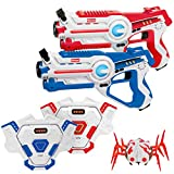 Kidzlane Laser Tag Gun Set of 2 with Vest and Spider | Indoor and Outdoor Infrared Laser Tag Target Shooting Game | Ideal Electronic Toy Gift for Kids and Teenage Boys & Girls | Ages 8+