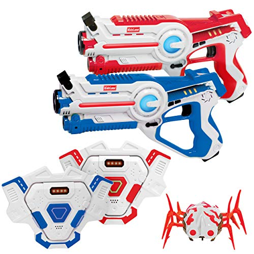 Kidzlane Laser Tag Gun Set of 2 with Vest and Spider   Indoor and Outdoor Infrared Laser Tag Target Shooting Game   Ideal Electronic Toy Gift for Kids and Teenage Boys & Girls   Ages 8+