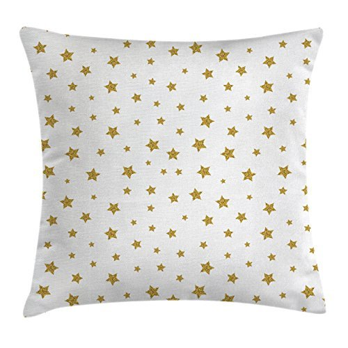 Ambesonne Star Throw Pillow Cushion Cover, Stars Pattern Illustration Creative Birthday Bachelorette Themed Print, Decorative Square Accent Pillow Case, 16