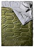 Ohuhu Saco de Dormir Doble Enorme con 2 Almohadas Gratis y una Bolsa de Transporte, Cuatro Doble Tiradores de la Cremallera - Temperatura Cómodo: 0 ° C / 32F ~ 10 ° C / 50F (Verde)