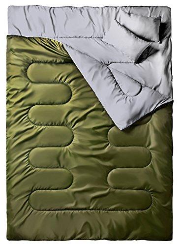Doppelschlafsack, Ohuhu Schlafsack 220 x 150cm Erwachsene Deckenschlafsack mit 2 Gratis Kissen und eine Tragetasche, Vier Doppel Zippern, Angenehme Temperatur für Outdoor, Camping, Grün