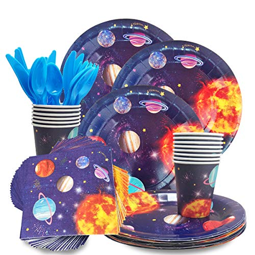 CODOHI Outer Space Planet Party Supplies - Serves 24 Guest -Includes Plates, Knives, Spoons, Forks, Cups Napkins Perfect Outer Space Birthday Party Pack for Kids Solar System Planet Themed Parties
