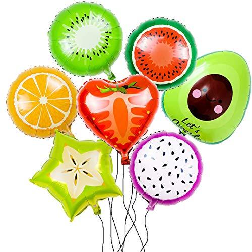 Globos de Decoración para Fiesta,Paquete de Frutas con Sandía,Naranja,Kiwi,Fresa,Fruta del Dragón,Aguacate,Carambola.Tema Yummy para Cumpleaños Etc.