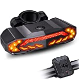 Onvian Smart Bike Tail Light with Turn Signals, Bike Horn Bike Alarm with Remote, Rechargeable Rear Bike Light, Waterproof Auto ON/Off Bicycle Lights Bike Turn Signals Brake Light