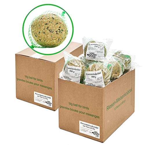 Paul´s Mühle Riesen-Meisenknödel, Premium Ergänzungsfutter für Wildvögel, mit Netz im Karton, 24 Stück (2 x 12 x 500 g)