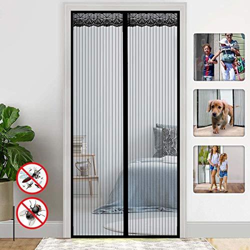 Gaasschermdeuren met magneten, glasvezel Quick Screen Door Mesh-gordijn voor balkon Schuifbare woonkamer Kinderkamer, zwart