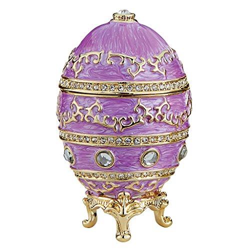Design Toscano Farbergé-Ei im Kaiserlichen Baroque-Stil: Pastel Magenta Skulpturen, Metall, rosa, 4 x 4 x 6.5 cm