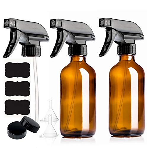 GKKXUE 2 Pack 250ml Empty Amber Glass Spray Bottle with Trigger Sprayer and Chalkboard Labels for Essential Oils Cleaning Products 8 Oz