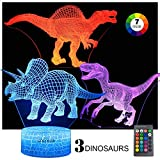 GOCOLER 3 Pack Night Lights for Kids 3D Dinosaur Night Light Bedside Lamp 7 Colors Changing with Remote Control Best Birthday Gifts for Boys Girls Kids Baby (Spinosaurus,Triceratops,and Raptor)