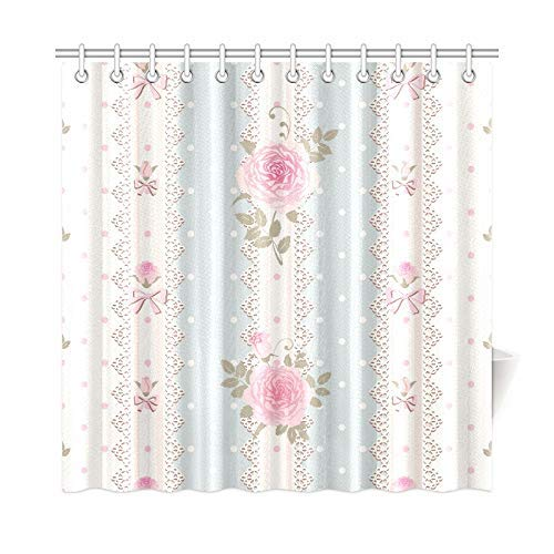 Presock Duschvorhänge, Home Decor Bath Curtain Striped Polka Dot Roses Polyester Fabric Waterproof Shower Curtain for Bathroom, 60 X 72 Inch Shower Curtains Hooks Included