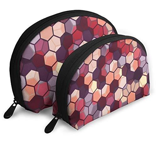 Lot de 2 trousses de maquillage à motif hexagones multicolore abstrait géométrique portable pour pinceaux cosmétiques rouges à lèvres