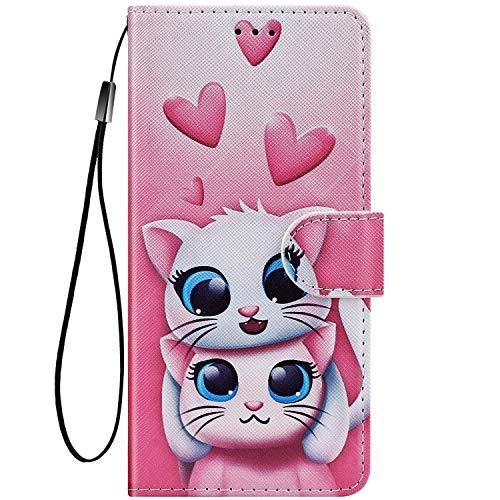 Felfy Kompatibel mit LG G8 ThinQ Hülle Bunte Painted Muster Schutzhülle,Tasche für LG G8 ThinQ Handyhülle Magnet Klapphülle PU Lederhülle mit Kartenfach/Standfunktion - Zwei Katzen