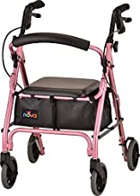 """NOVA GetGo Petite Narrow Rollator Walker (Petite & Narrow Size), Rolling Walker for Height 4'10"""" - 5""""4"""", Seat Height is 18.5"""", Ultra Lightweight - Only 13 lbs with More Narrow Frame, Color Pink"""