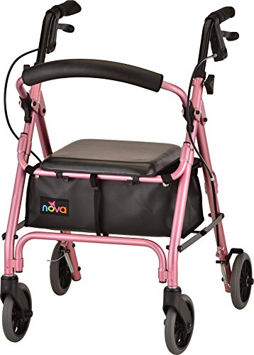 "NOVA GetGo Petite Rollator Walker, Petite Narrow Size Rolling Walker for Height 4'10"" - 5'4"" with 18.5"" Seat Height, Ultra Lightweight at Only 13 lbs with More Narrow Frame, Color, Pink"