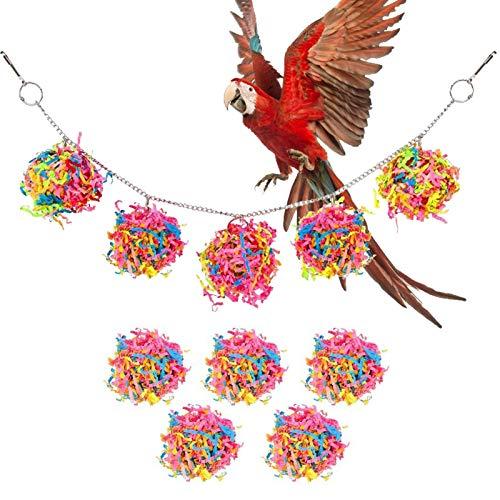 Concey Juego de Bolas de Papel para pájaros, Juego de Bolas de Mimbre de Papel para Colgar Columpios para pájaros, Juguetes para Masticar pájaros, trituradora de pájaros, Perchas