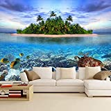 Mural 3D Etiqueta de la pared Tema minimalista personalizado Acuario moderno Mundo marino Mural Atmó Pared Pintado Papel tapiz 3D Decoración dormitorio Fotomural sala sofá pared mural-350cm×256cm