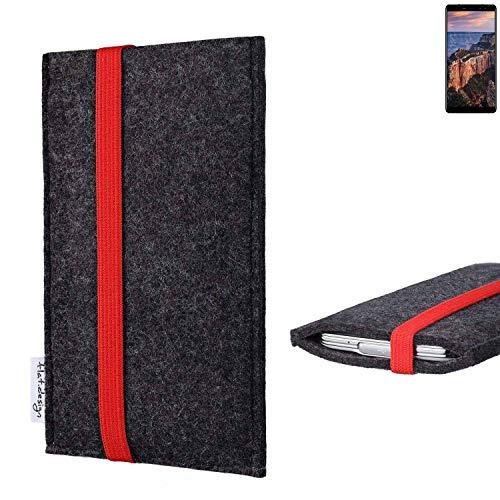 Flat.design Vegan Telefoonhoes COIMBRA Voor M-Horse Pure 1 - Beschermhoes Zakvilt Gemaakt In Duitsland Donkergrijs