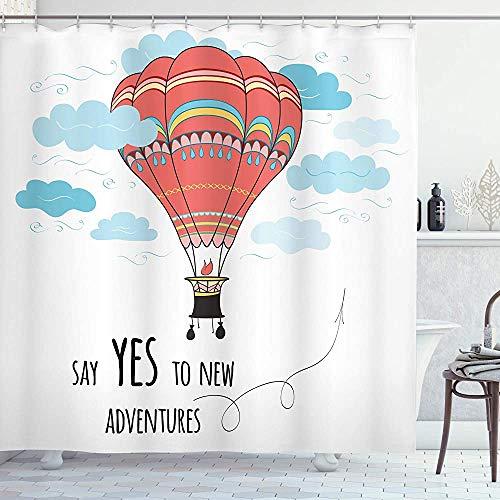 ASDAH Cartoon douchegordijn inspirerende woorden zeggen ja tegen nieuwe avonturen hand getrokken hete lucht ballon doek stof badkamer Decor Set met haken Mint roze 66 * 72in
