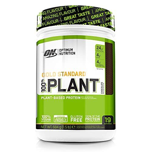 Optimum Nutrition 100% Plant Gold Standard, Proteina Vegana en Polvo, Proteinas Vegetales para Masa Muscular y Musculacion, Fuente de Vitamina C y B12, Chocolate, 19 Porciones, 684 g
