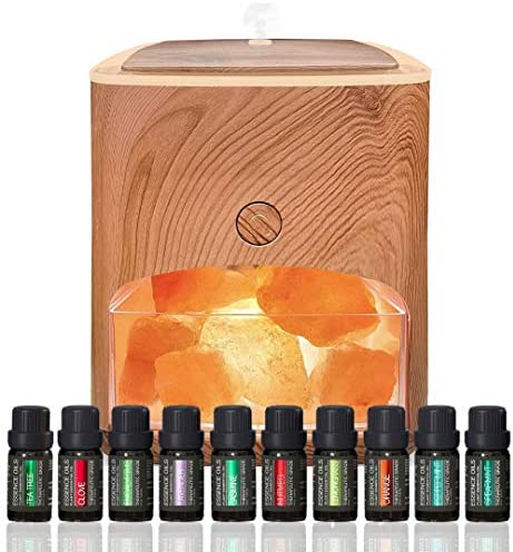 Himalayan Pink Salt Diffuser 10 Essential Oils 2 in 1 Therapeutic Device Aromatherapy Ionic product image