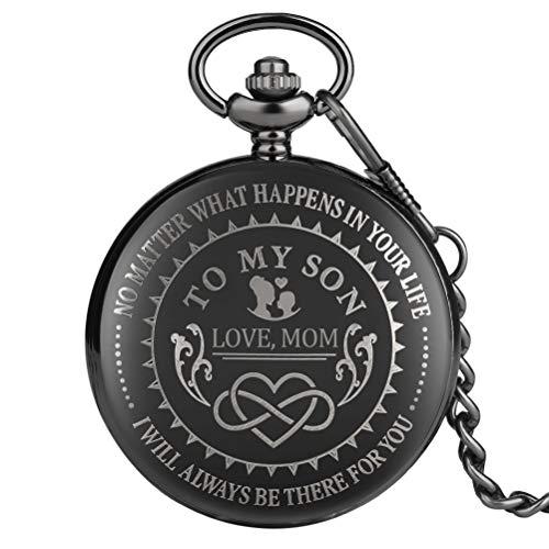 """Klassische schwarze Quarz-Taschenuhr für Jungen, \""""To My Son\"""" Muster Taschenuhren für Sohn, weißes Zifferblatt mit schwarzen römischen Ziffern Anhängeruhr für Kinder"""