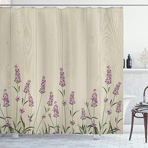 Ambesonne Lavender Shower Curtain, Aromatic Herbs on Wooden Planks Springtime Nature Botany Illustration, Cloth Fabric Bathroom Decor Set with Hooks, 70' Long, Green Lilac