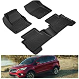 KIWI MASTER Floor Mats Compatible for 2013-2019 Ford Escape/Ford C-Max Accessories All Weather Mat Liners Front Rear 2 Row Seat TPE Slush Liner Black