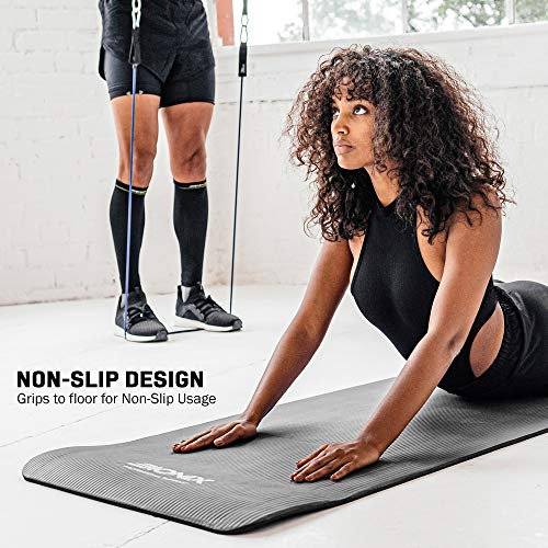 Bionix Yoga Mat Black | Thick Exercise Foam NBR Roll with Non Slip Large Surface & Carry Straps | Perfect for Pilates Gymnastics Fitness Workout Home Gym Training Equipment | Best For Men Women