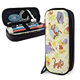 Love Winnie The Pooh Pencil Case Big Capacity Double Zipper Pen Holder Office Supplies Cosmetics Documents Daily Essentials