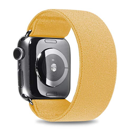 Elastic Band Compatible with Apple Watch, Scrunchie Stretch Wristbands Bracelet Loop Sport Replacement Strap for iWatch SE 6 5 4 3 2 1, Men Women, Yellow, 42/44mm, M