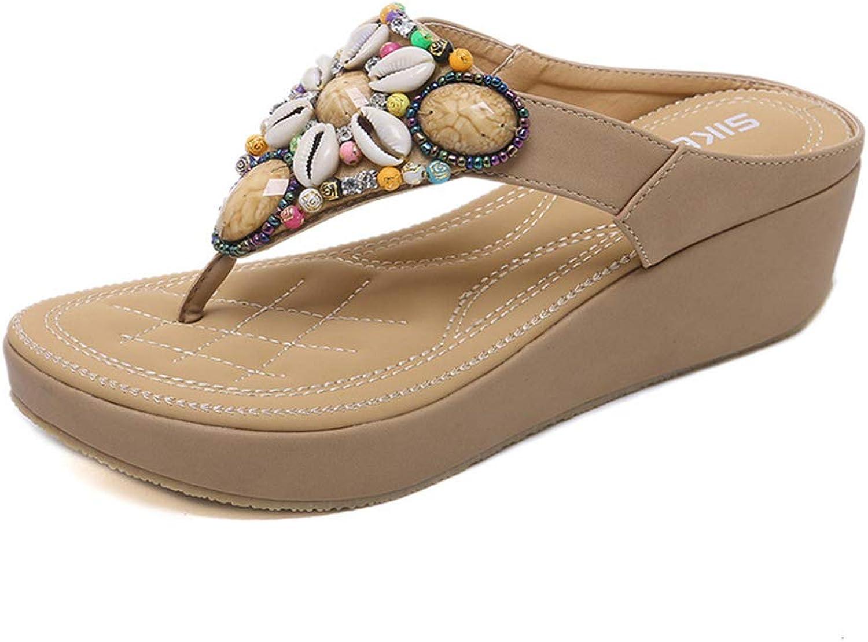 Baviue Womens Leather Bling Beaded Thong Beach Flip Flops Sandals