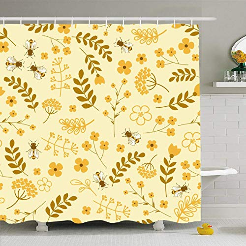 EnvyPet Shower Curtain Nature Yellow Honey Floral Pattern Bees Beekeeping Flowers Herbs Leafs Design Waterproof Polyester Fabric Bathroom Curtains Set with Hooks