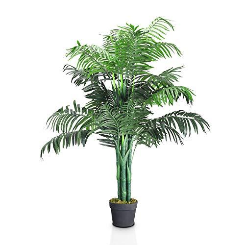 RELAX4LIFE Kunstpflanze Palme, Zimmerpalme Künstlich, Dekopflanze mit Topf, Farnpalme 110 cm hoch, Kunstbaum für Innendekorationen, Zimmerpflanze Polyester, Kunstblume grün, Phoenix Palme Outdoor
