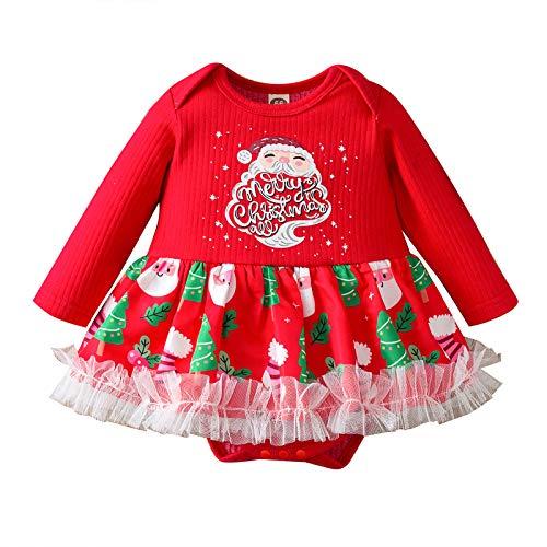 MSemis Ropa Bebe Niña Navidad Body Bebe Niña Recien Nacido Pijamas de Algodón Estampado Papá Noel Mameluco Bebe Niñas Monos Bebés Invierno Jumpsuit Rojo 0-3 Meses