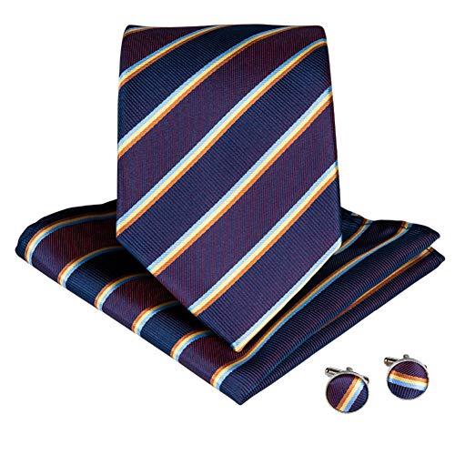 WOXHY Cravate Homme Violet Jaune Soie rayé Cravate Pince Boutons de Manchette Hanky Mariage Affaires Cravate Ensemble