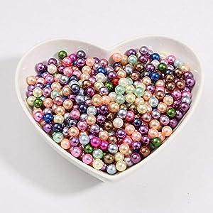50-1000pcs / lot 3/4/6/8/10 mm SIN Agujero Mezcla de colores Perlas de imitación de acrílico Perlas sueltas para manualidades DIY Decoración de álbumes de recortes, mixtos, 6 mm 200 piezas