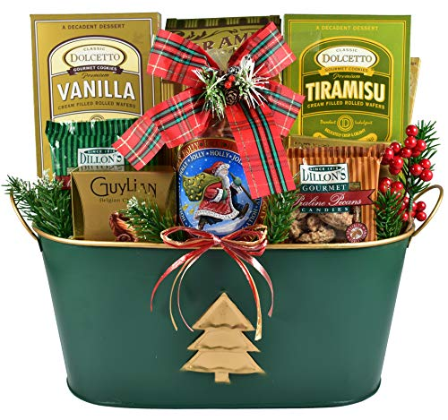 Christmas Elegance, Holiday Gift Basket with Decadent Chocolates, Smooth Filled Wafer Cookies, Chocolate Pecans and More...