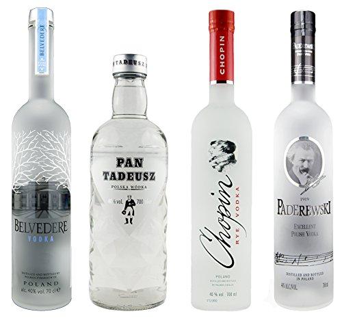 Polnische Klassiker de luxe | 4x klarer Wodka | je 40%, 0,7 Liter