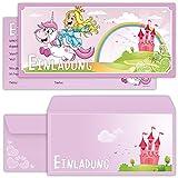 Prinzessin Einladungskarten mit Umschlägen (12er Set) zum Kindergeburtstag mit einem niedlichen, süßen Einhorn - Geburtstag-Einladungen für die Party bzw Feier in rosa und pink, ideal für Mädchen -