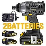 Visseuse à choc 180Nm, TECCPO Visseuse sans Fil 2×2.0Ah Batteries 18V, 30min...