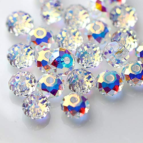 FAMLEAF 6mm 395Pcs Crystal Glass Beads, Briolette Bead, Faceted Rondelle Beads, Glass Beads for Jewelry Making, Crystal Rondelle Beads, Perfect for Making Bracelets, Christmas Jewelry (Crystal AB)