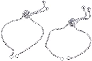 """PH PandaHall 10 Strand 9""""(230mm) Stainless Steel Adjustable Slider Chain Bracelet Round Box Chain Slider Extender Chains with Ball Ends for Women Girls Semi Finished DIY"""